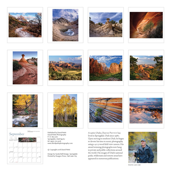 David Pettit Calendar - Back showing thumbs of monthly images